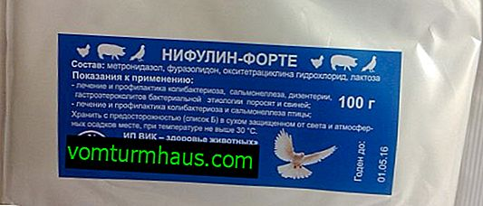 "Instructions for use of the drug ""Nifulin-forte"" for pigeons"